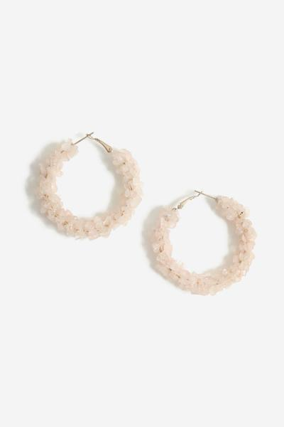 Chipping And Shell Hoop Earrings