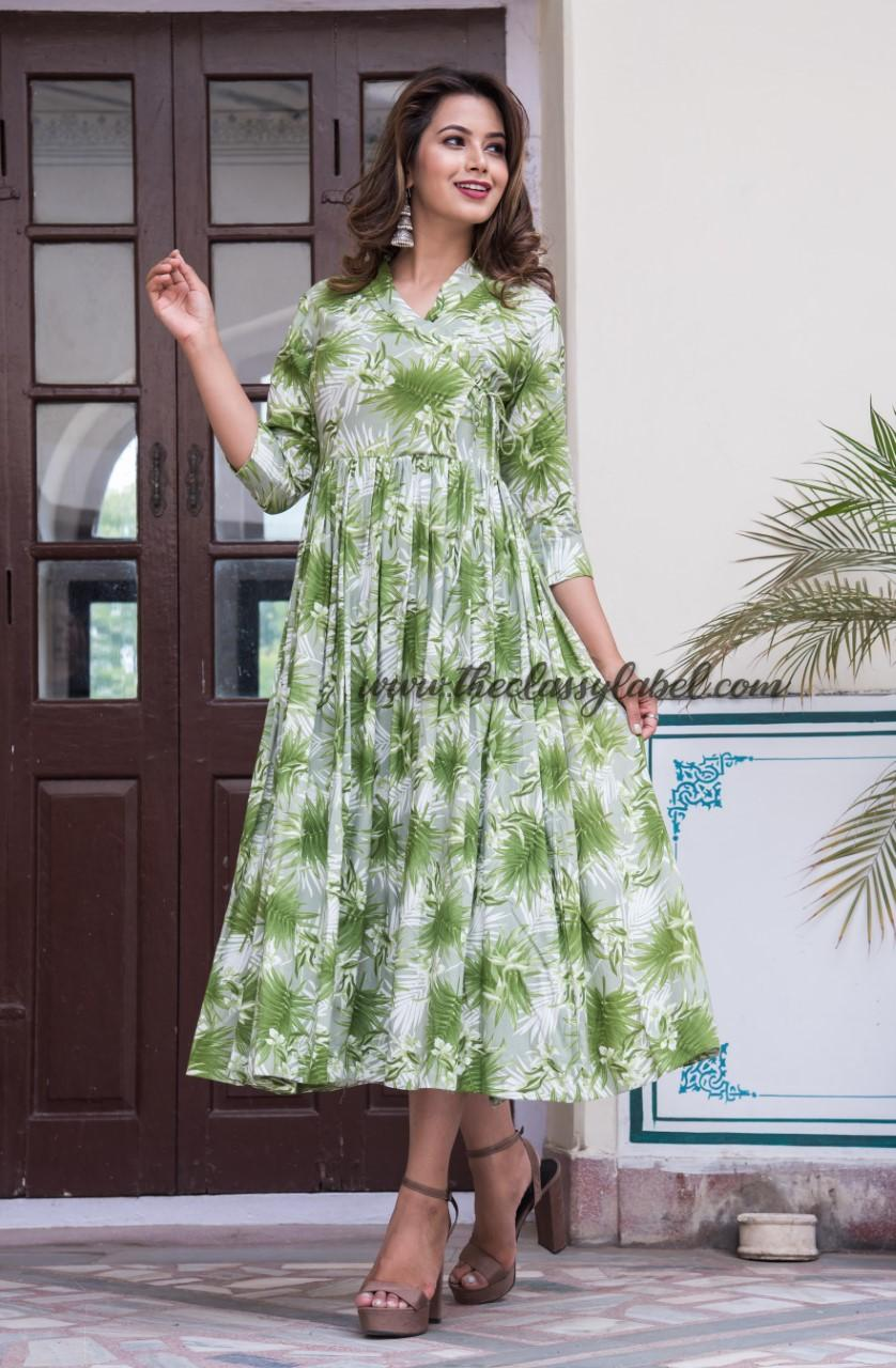 Rayon Angrakha Maxi Dress