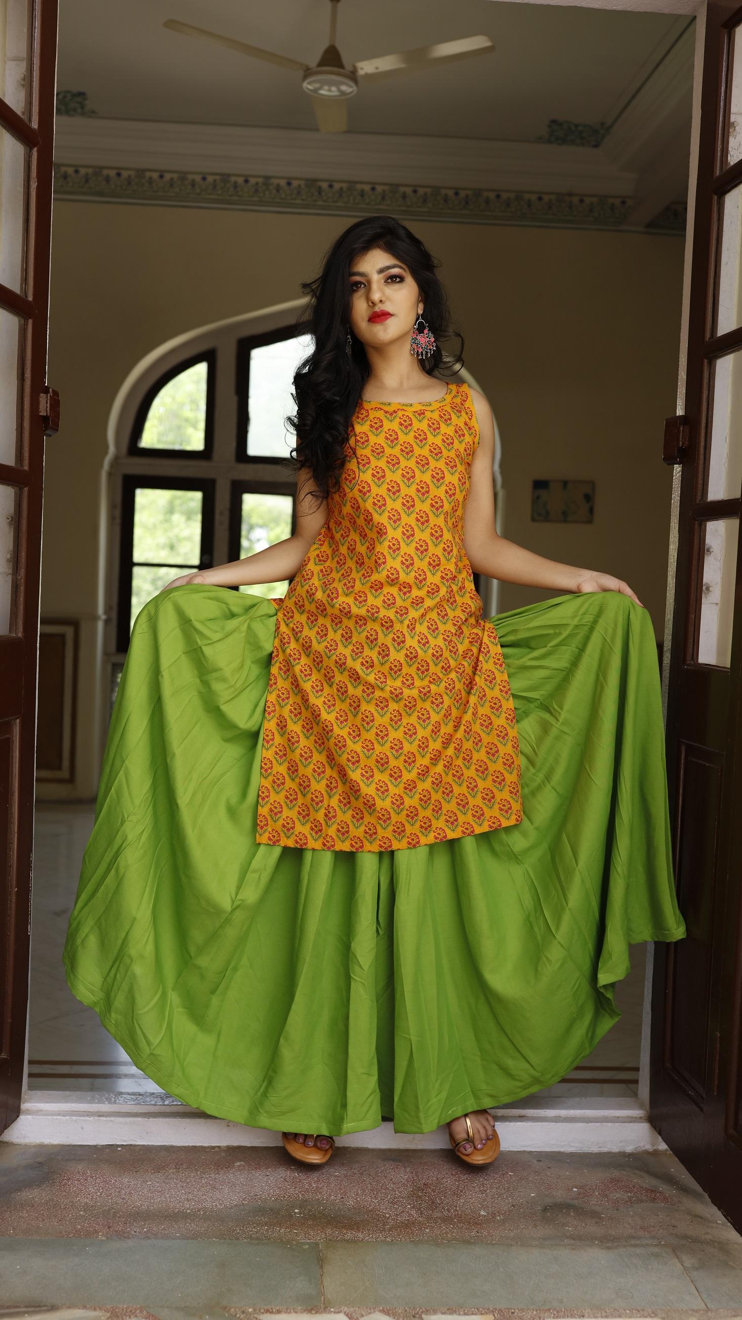 Chartreuse Skirt With Kurta