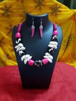 Handmade Purple&White Horn Design Necklace With Earring