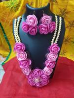 Handmade Floral Jewellery Set for Wedding In Pink