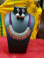 Full Neck Tri-Colour Purple Base Necklace With Earring