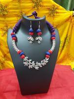 Handmade Blue & Orange Necklace In Leaf Shape