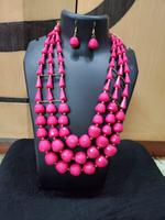 Handmade Full Pink Stone Shape Beautiful Jewelry Set