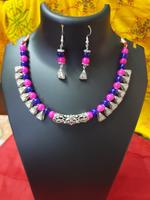 Handmade Blue & Magenta Necklace In Triangle Shape