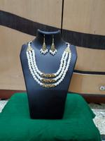 Handmade White Pearls with Golden Accent Design Necklace
