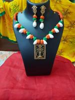 Handmade Tri-Colour God Pendant Necklace with Earring