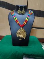 Handmade Tri-Colour Beads With Peacock Pendant Necklace