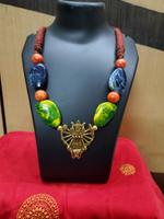 Handmade Gorgeous Stone with God Pendant Necklace with Earring