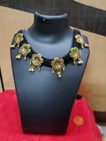 Handmade Black Thread With Oxidised Alloy Pendant Design Necklace