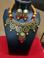 Handmade Oxidised Golden Star Design with Colorful Beads Jewelry  Set