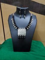 Handmade Oxidised Elegant Black Pearls With Pendant Jewellery Set