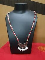 Handmade Red&White Pearl With Heart Shape Pendant Necklace With Earring