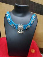 Handmade Blue Thread With Beads & Pendant Necklace