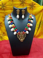 Handmade God Pendant Alloy Necklace with Earring