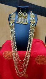 Handmade Long Hanging Gorgeous Golden Wedding Jewellery Set