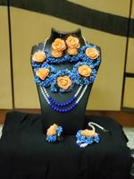 Handmade Floral Jewellery Set For Wedding in  Purple & Orange
