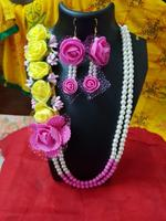 Handmade Floral Jewellery Set for Wedding In Pink , White & Yellow