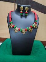 Handmade Oxidised Alloy Design Necklace & Earring