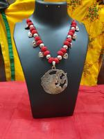 Handmade Red Gota Patti Necklace With Heart Shape
