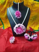 Handmade Floral Jewellery Set for Wedding In Pink & White