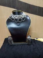 Handmade Oxidised Elegant Flower Design With Black Pearls Jewellery Set