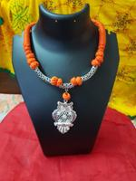 Handmade Orange Necklace In Owl Shape