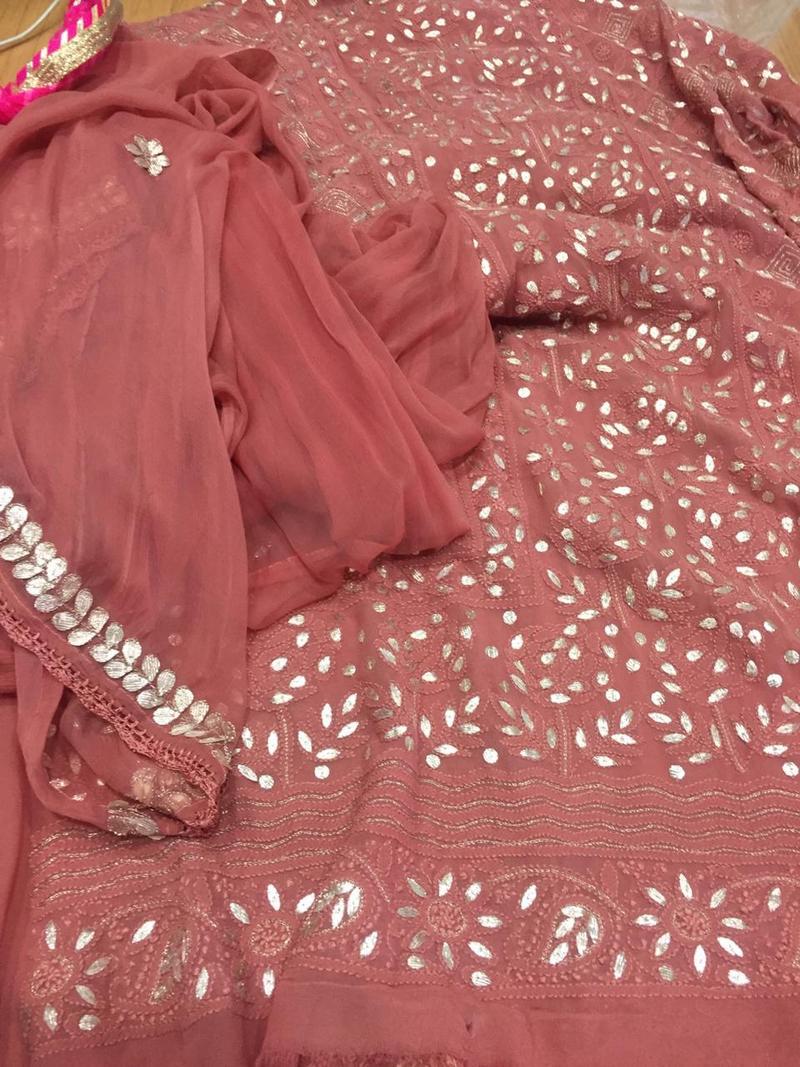 Begum Jahan under Mewar ke Nawab . Copper Pure viscose georgette Chikankari with Gita Patti work