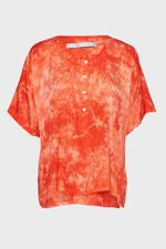 Henley Ripple Satin Tie-Dye Top