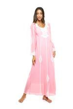 Long Voile Cotton Nightdress with Long Sleeves & Lace - Coral
