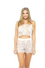 Lace Cami & Shorts Set - White