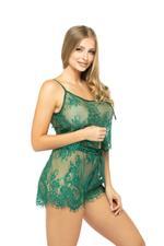 Lace Cami & Shorts Set - Green