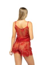 Lace Cami & Shorts Set - Red