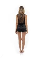 Lace & Satin Cami & Shorts Set - Black