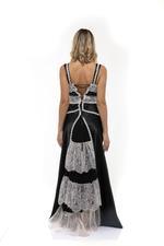 Frilly Satin & lace Long Nightdress - Black/White