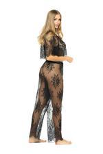 Long Lace Pyjama Set  - Black