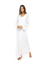 Long Voile Cotton Nightdress with Long Sleeves & lace - Light Pink