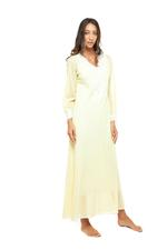 Long Voile Cotton Nightdress with Long Sleeves & lace - Yellow