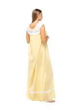 Long Cotton Jalabiya with Lace trim - Yellow