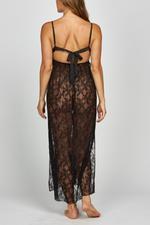 Iris Lace Long Nightdress - Black