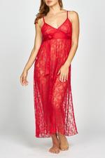 Iris Lace Long Nightdress - Red