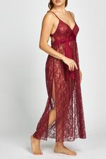 Iris Lace Long Nightdress - Bordo