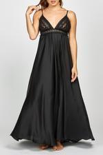 Satin Long Length Nightdress - Black