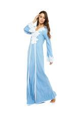 Cotton & lace Jalabiya - Blue