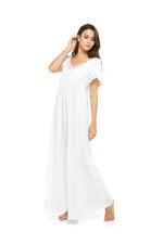 Long Dotted Cotton & lace Jalabiya - White