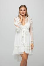 Floral Lace and pearl Short Nightdress & Robe Set - White