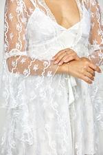 Daffodils Satin & Lace Short Bridal Set - White