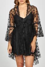 Daffodils Satin & Lace Short Nightwear Set - Black