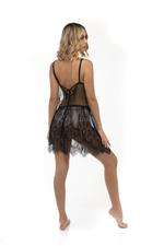 Tulle and Lace Nightdress and Robe Set - Black