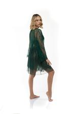 Tulle and Lace Nightdress and Robe Set - Green